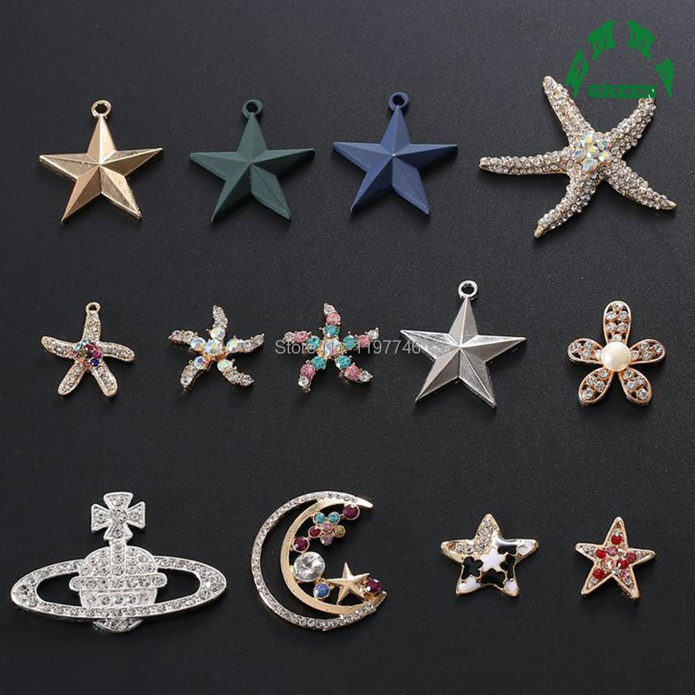 Star Flower Moon Starfish Planet Satellite Pearl Rhinestone Buttons 10pcs Flatback For Wedding Hair Embellishment Accessories