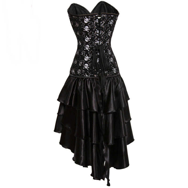 f9dfa4b3e4f ... Black Pirate Skull Print Victorian Corsets And Bustiers Steampunk  Corset Dress Gothic Clothing Sexy Burlesque Costumes ...