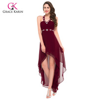 Grace Karin Women Sexy Evening Dress High Low Designer Black Burgundy Beaded Long Formal Party Gown