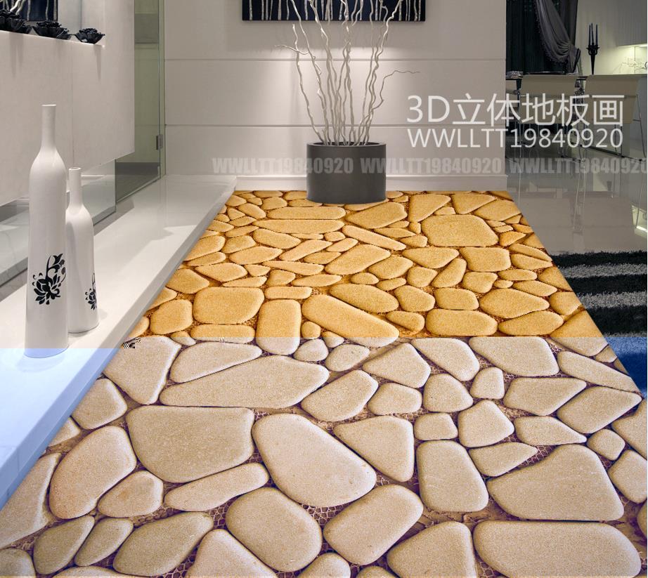 ФОТО 3d floor wallpaper custom European Pebbles abstract pattern 3d floor decels self adhesive wallpaper vinyl flooring waterproof