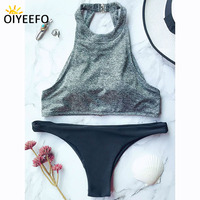 Oiyeefo High Neck Sport Bikini Women Tank Top Low Waist Women S Swimsuit Padded Women Swimwear