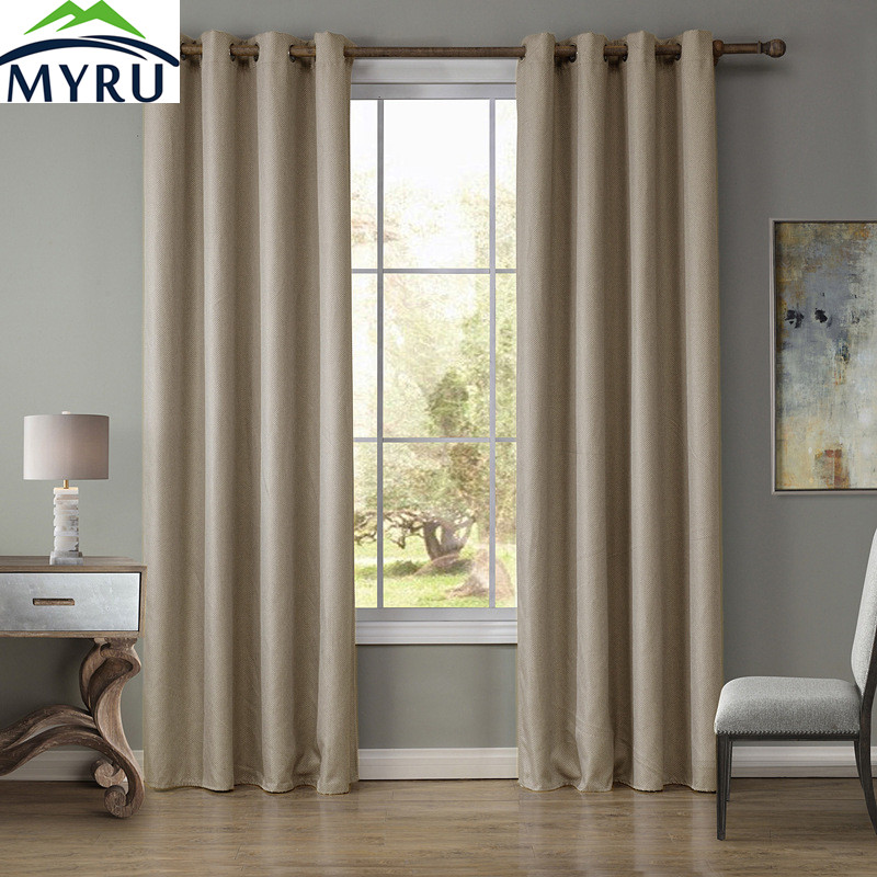 MYRU Beige Grey Light Coffee 3 Colors 100% Polyester WIndow Curtains 4  Sizes Solid Curtains