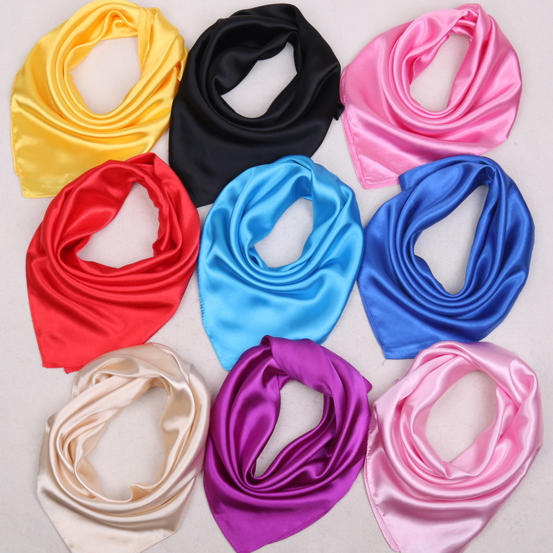 O CHUANG Solid Color Silk Scarf Women's Small Square Satin Artifical Hair Scarves For Ladies Handkerchief 60*60cm
