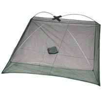 JHO-New 76 x 76 cm Umbrella Design Crab Trap Cast Lures Fishing Dip Net Green
