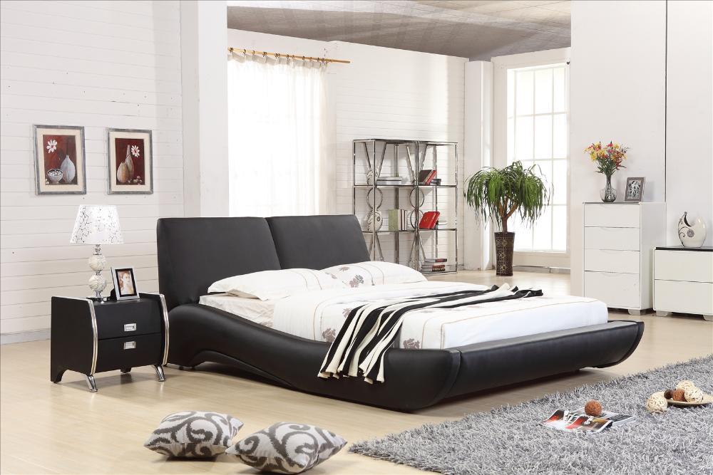Luxury bedroom furniture sets,Top Grain Leather Headrest Modern ...