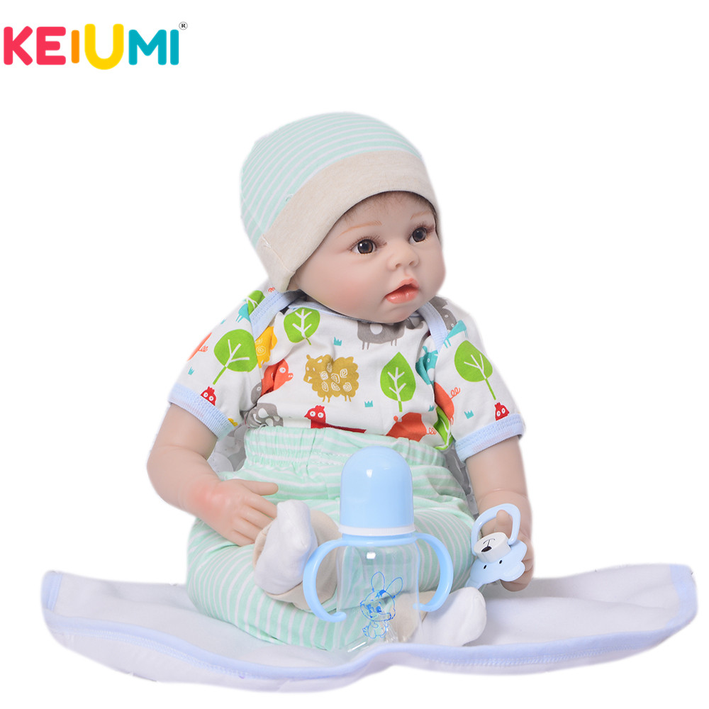 KEIUMI 22'' 55 cm Realistic Baby Alive Boy Doll Soft Silicone Vinyl Lifelike Reborn Doll Toy For Toddler Birthday Xmas Gifts keiumi 22 55 cm realistic baby alive boy doll soft silicone vinyl lifelike reborn doll toy for toddler birthday xmas gifts