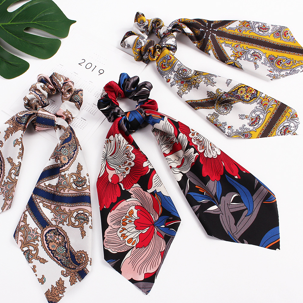 New Floral Print For Women Girls Hair Scarf Elastic Hair Bands Bohemian Hairband Bow Large Satin Scrunchie Hair Ties Accessories in Women 39 s Hair Accessories from Apparel Accessories