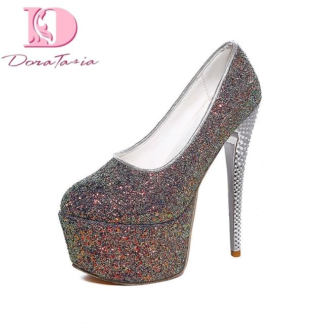 19b918fadc9 DoraTasia Big Size 31-48 Platform Women Shoes Woman Sexy Bling Upper super  High Heels