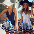 Sexy Women Summer V Neck  Bohemian Floral  Sleeveless  Printed Dress Cotton And Mesh Party Evening Short Beach Mini Dress