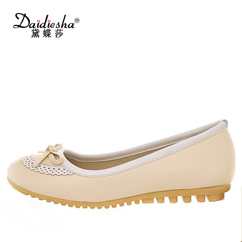 Daidiesha Stylish women shoes Flat Ballerina sweet Butterfly-knot Round toe comfortable Slip-on girls Casual shoes with Lace sweet women high quality bowtie pointed toe flock flat shoes women casual summer ladies slip on casual zapatos mujer bt123