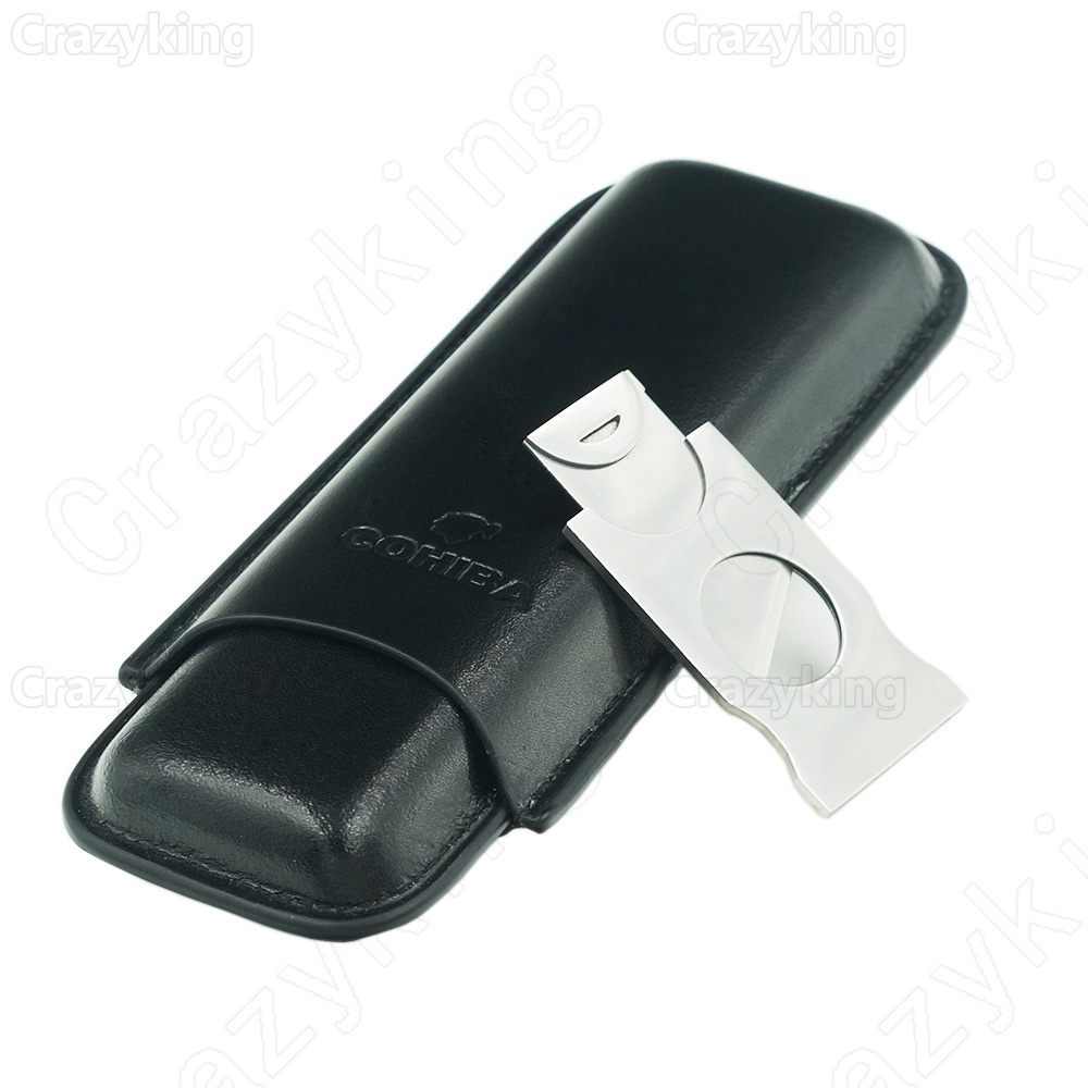 Cohiba Leather Travel Cigar Case Holder 2 Tube Humidor With Cutter Free Shipping