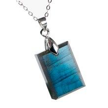 Natural Blue Light Labradorite Pendant Gemstone Women Men Fashion Rectangle 20x15x6mm Crystal Moonstone AAAAA