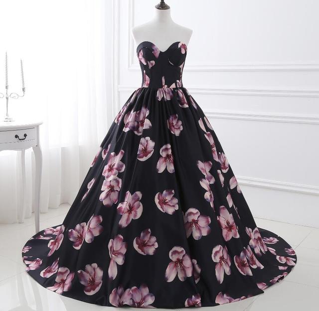 Custom Made New Impresso Flores Prom Bola Vestidos Longos Quinceanera Vestido Querida Andar de Comprimento Vestidos de Festa De Casamento Barato