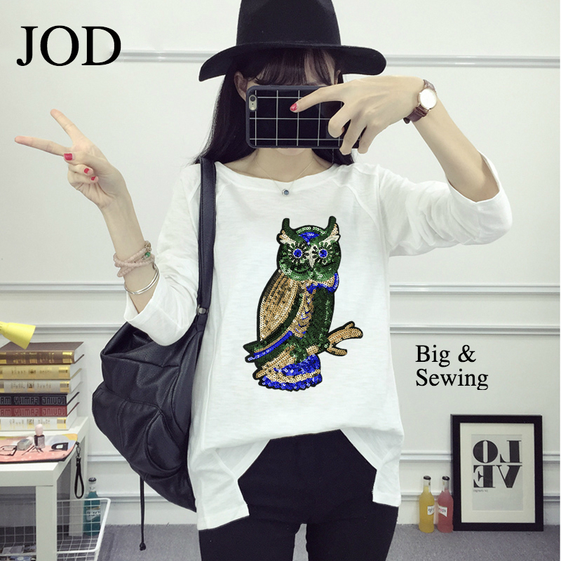 JOD Punk Big large Sequin patches clothes embroidery owl Applique Applications clothing sew sticker Custom bird biker motorcycle Одежда
