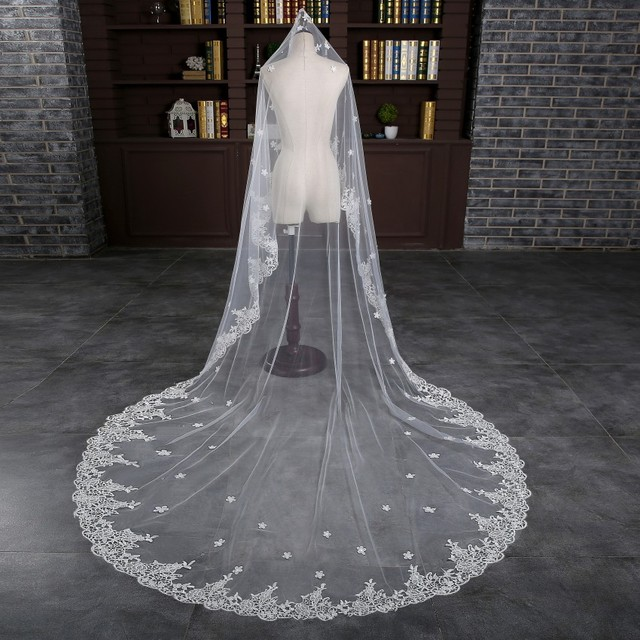 Lace Edge White Luxury Cathedral Wedding Veil Hot Sale Wedding Accessories Long Bridal Veils Velos de Novia Voile Mariage Cheap