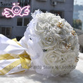 Rose Artificial Bridesmaid Flowers Wedding Flowers Bridal Bouquets Cream Blue Silk Ribbon Handmade Wedding Accessories WF004