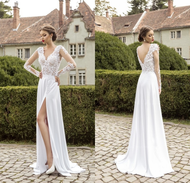Wedding Gowns For 2015: 2015 Beach Wedding Dresses Lace Long Sleeves Boho Wedding