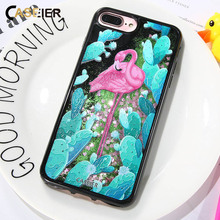 цена на CASEIER Flamingo Quicksand Case For iPhone 7 8 Plus Silicon Cases Cover For iPhone X 6 6s 7 8 Plus 3D Soft Shell Capinha Hoesjes