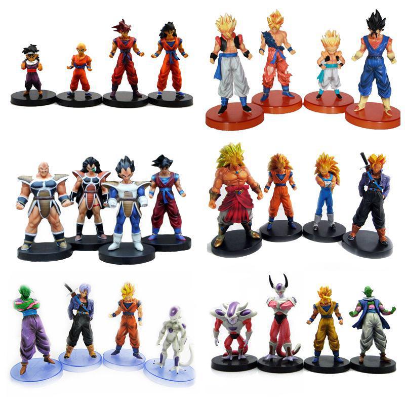 Anime Dragon Ball Z PVC Action Figure Toys Multi-style 4pcs/set Super Saiyan Goku Model dolls Collect Free shipping