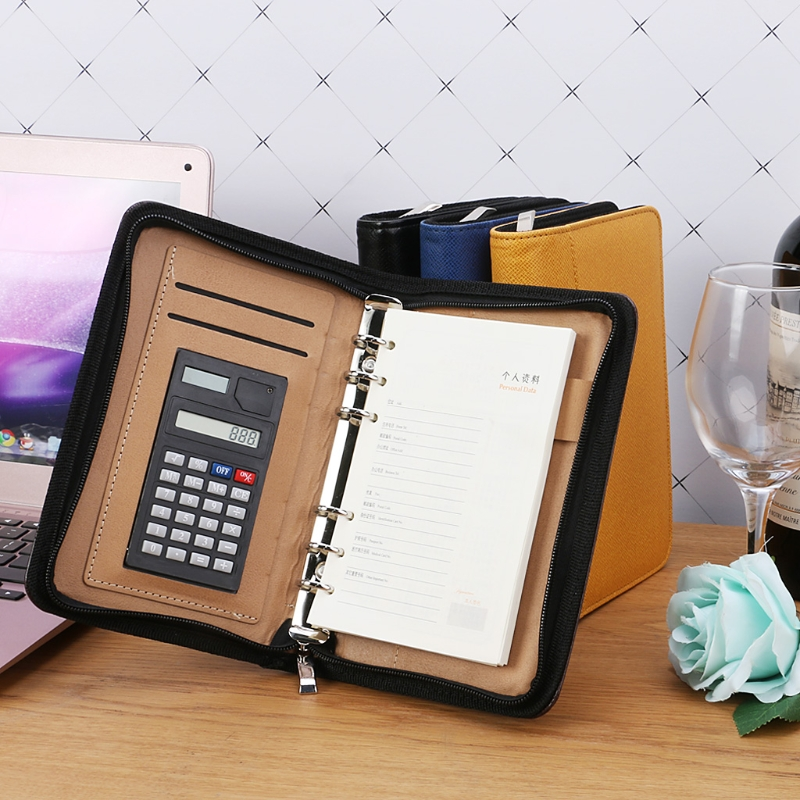 PU Leather Cover A6 Zipper Notebook Loose-Leaf Business Notepad With Calculator