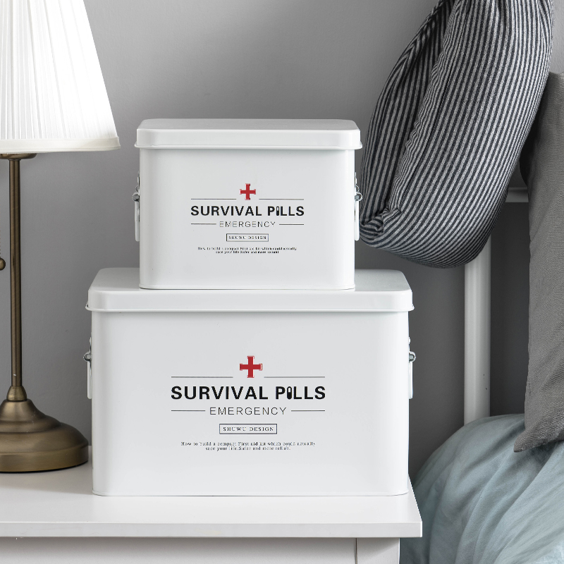 Boîte de rangement nordique en métal pour médecine domestique trousse de premiers soins boîte de rangement pour articles divers minimalisme décor organisateur pour la maison
