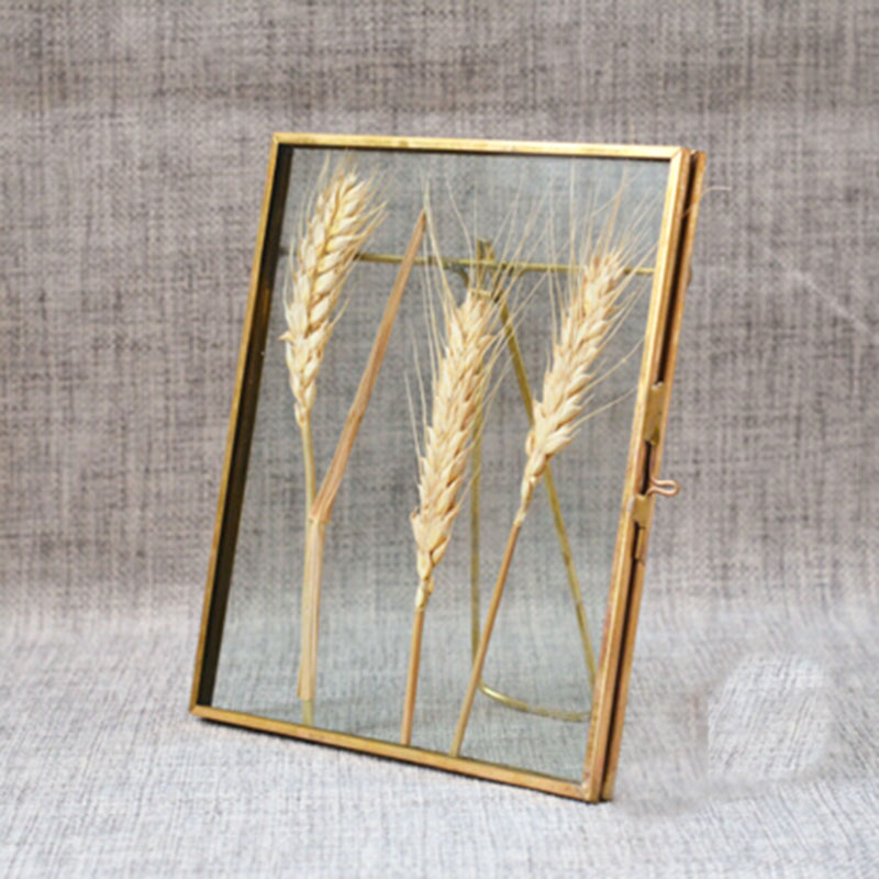MagiDeal Antique Brass+Glass Photo Frame Free Stand Hanging Picture ...