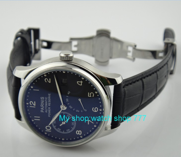 Butterfly buckle 43mm PARNIS black dial power reserve Automatic Self Wind Mechanical movement men s watch
