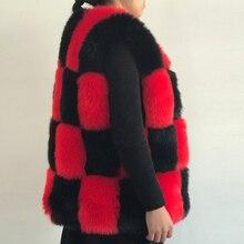 ФОТО 2018 new fashion red black fluffy fur patchwork faux fur vest women fake fur coat white black stitching fur jacket pc283