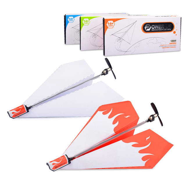 electric paper airplane for kids power up drone propeller aircraft powerup