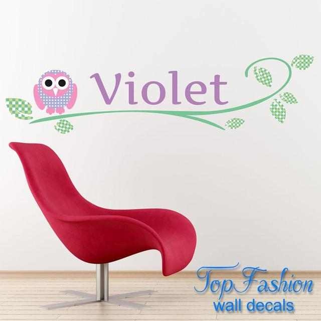 Personalised wall sticker owl woodland animals art decal transfer bedroom vinyl home decoration custom any name