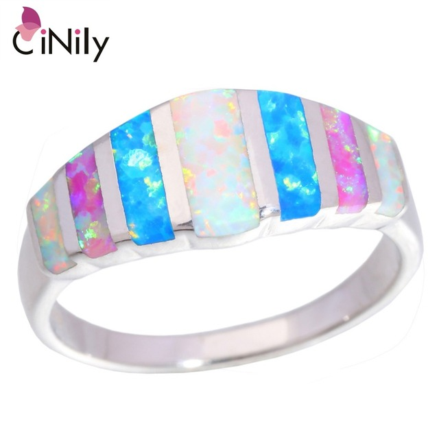 CiNily Rainbow Big Fire Opal Stone Rings Silver Plated Blue White Pink Colorful