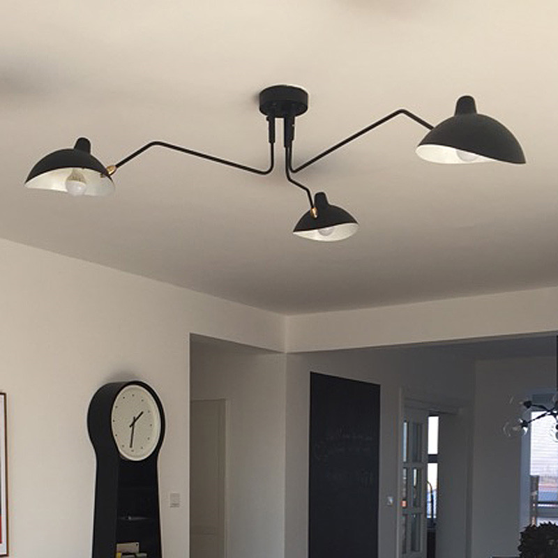 Nordic Industrial Ceiling Lamps Home Deco Simple LED Retro Serge Mouille Ceiling Lights Living Bedroom Luminaire Lustre Lighting