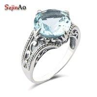 Szjinao carnaval noite namorada um presente de Natal 925 sterling silver pedra azul anel de cristal mulheres jóias adornam artigo
