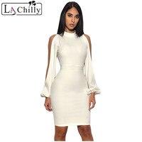 La Chilly Sexy Long Sleeve Dress 2017 Roupas Feminina White Cut Out Sleeve Stretch Crepe Bandage Party Turtleneck Dress LC28466