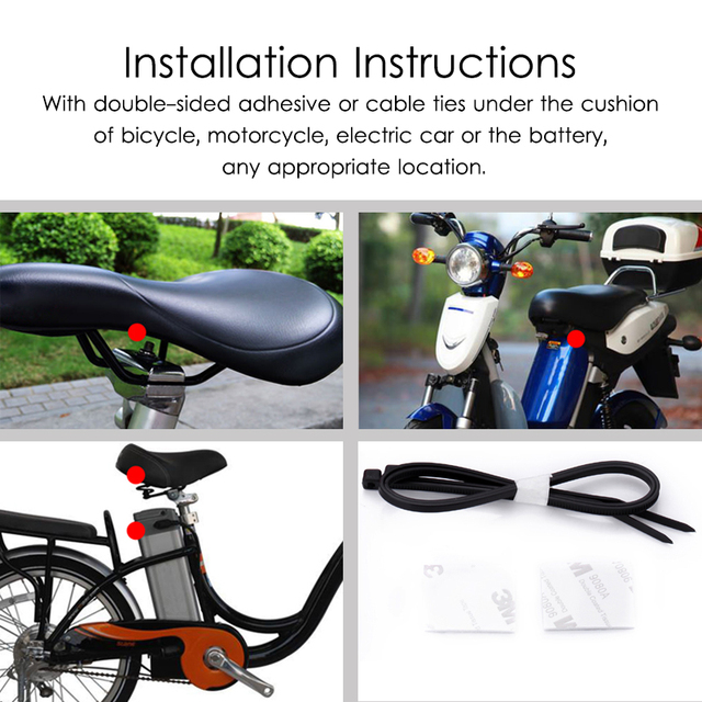Marlboze Waterproof Remote Control Bike Motorcycle Electric Car Vehicle Security Anti Lost Remind Vibration Warning Alarm Sensor Computer, Office & Security