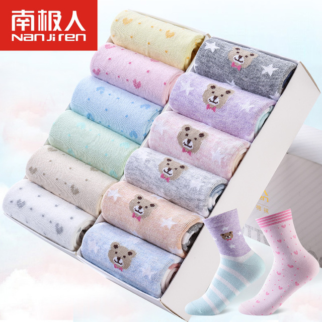 12 pairs/lots Cotton women funny cute casual socks calcetines deodorant pug cotton meias socks Korean breathable female socks