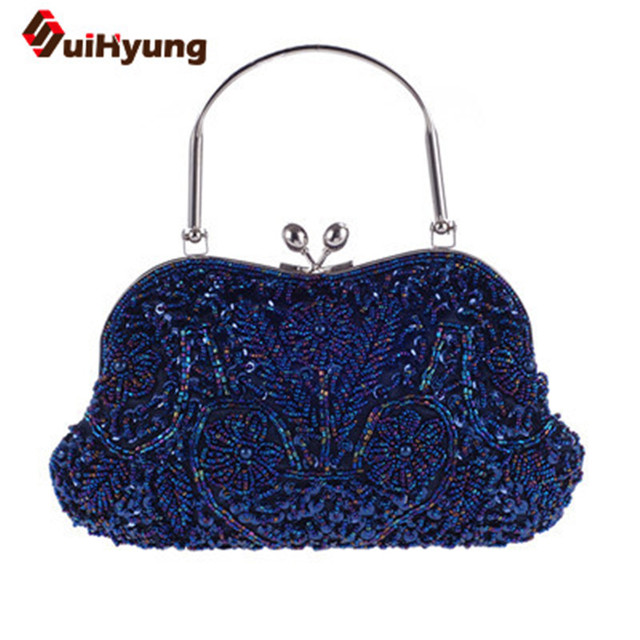 2016 Fashion Women's Beading Handbags Vintage Beaded Wedding Totes Pearls Party Evening Bag Ladies Shoulder Crossbody Bag Clutch