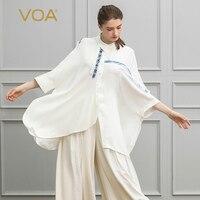 VOA тяжелый шелк жаккард за Размеры d футболка белые женские топы Свободные Большой Размеры Повседневное футболка Для женщин рукав «летучая