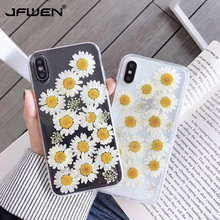 Dried Real Daisy Flower Case For iPhone XS Max XR Case Handmade Clear Soft TPU Back Cover For iPhone 6 6S 7 8 Plus X Phone Cases real dried flower handmade phone cases for iphone x xs max xr 6 6s 7 8 plus case cover for samsung galaxy s8 s9 s10 plus note8 9