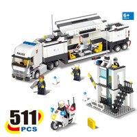 KAZI 2017 New 6727 Police Station Truck Building Blocks Sets Bricks Learning Education Toys For Children