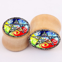 new explosion color wood bones real ear piercing jewelry PLUG expansion Earrings tunnel body jewelry