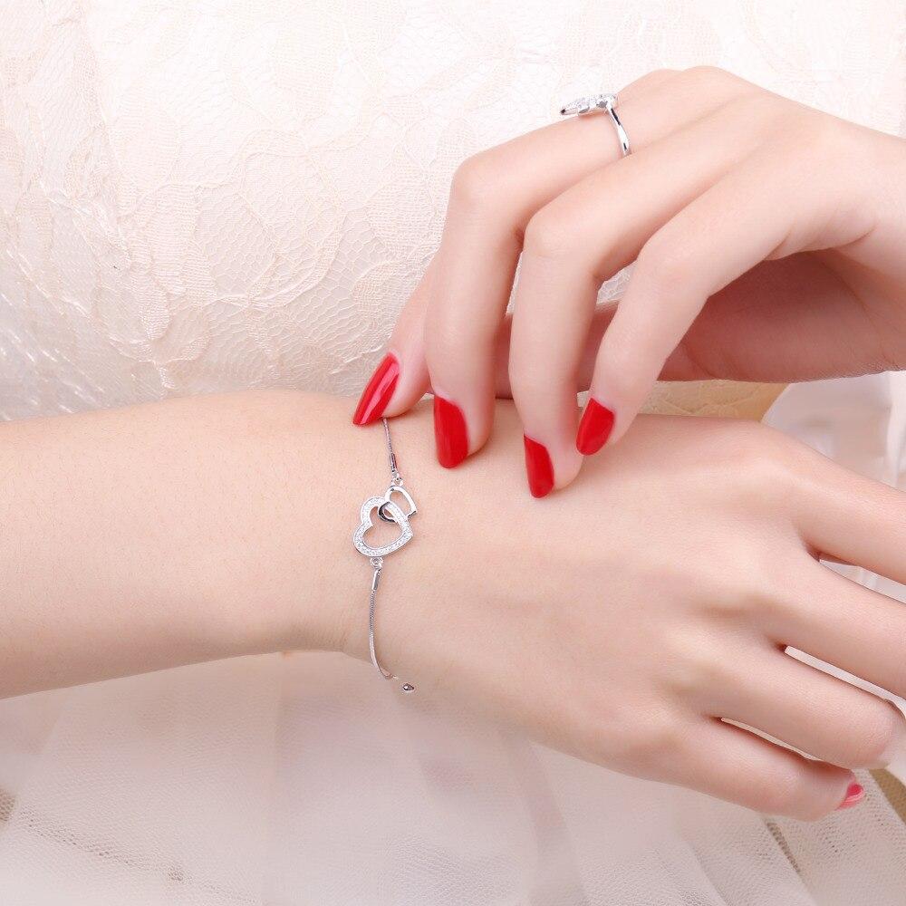 Image 4 - Two Heart Bracelet 925 Sterling Silver Bracelet Snake Chain Bolo Bracelets For Women Silver 925 Jewelry Making OrganizerBracelets & Bangles   -