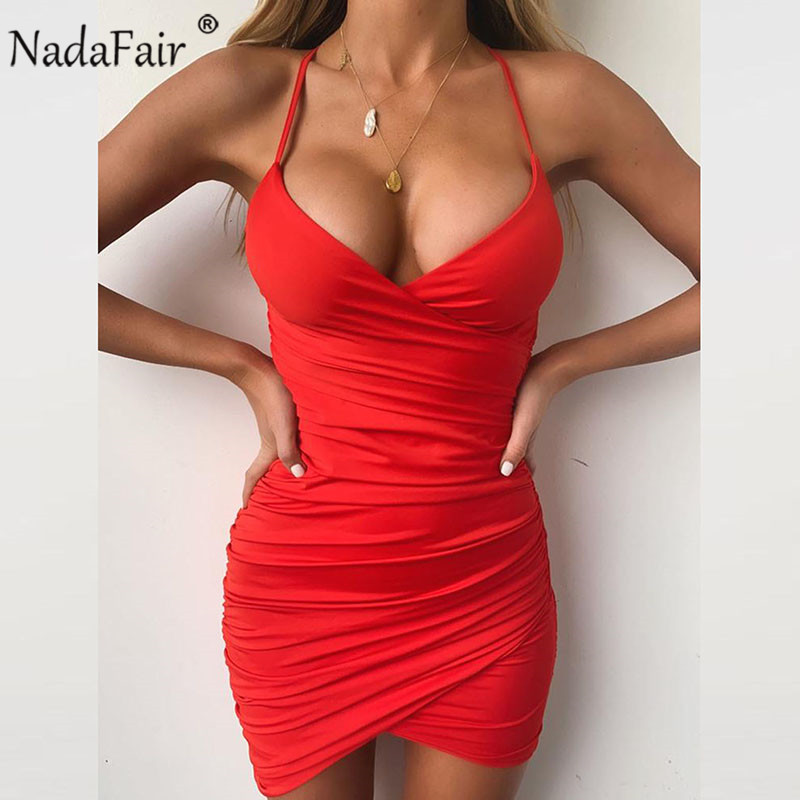 Nadafair <font><b>Deep</b></font> <font><b>V</b></font> Neck Club <font><b>Sexy</b></font> Bodycon <font><b>Dress</b></font> Women Ruched Backless Cross Red Black Party Bandage Mini Summer <font><b>Dress</b></font> Vestidos image
