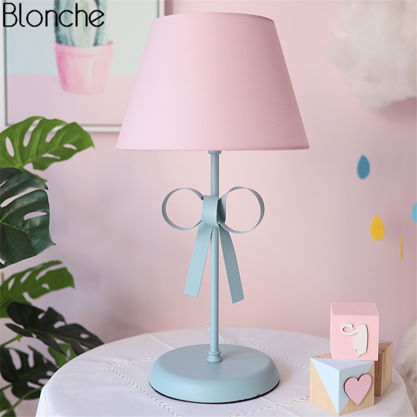 Nordic Bow knot Table Light LED Desk Lamp Fabric Lampshade Lights for Children's Room Princess Bedroom Bedside Lamps Luminaire