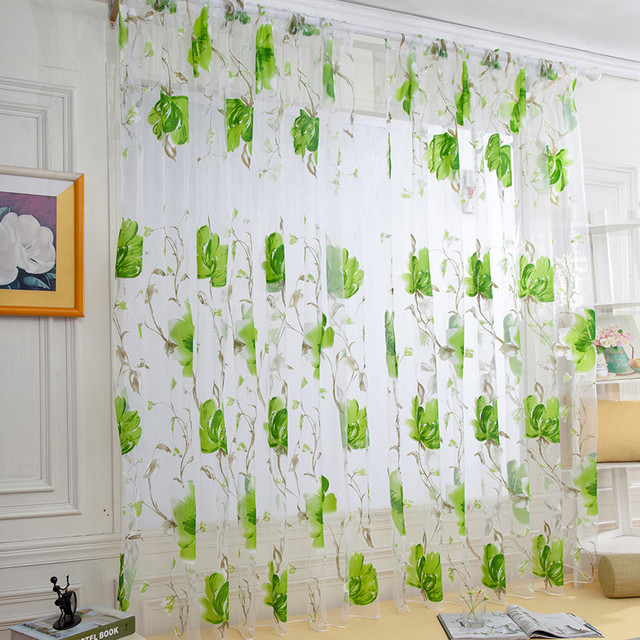 Vines Leaves Tulle Door Window Curtain Drape Panel Sheer Scarf Valances Drapes In Living Room Home Decor Sheer Voile Valances 4