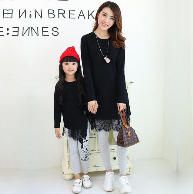 Spring And Autumn Mother And Daughter Clothes O-neck Matching Family Sweaters Package Hips Long Style Knitted Sweater For Girls