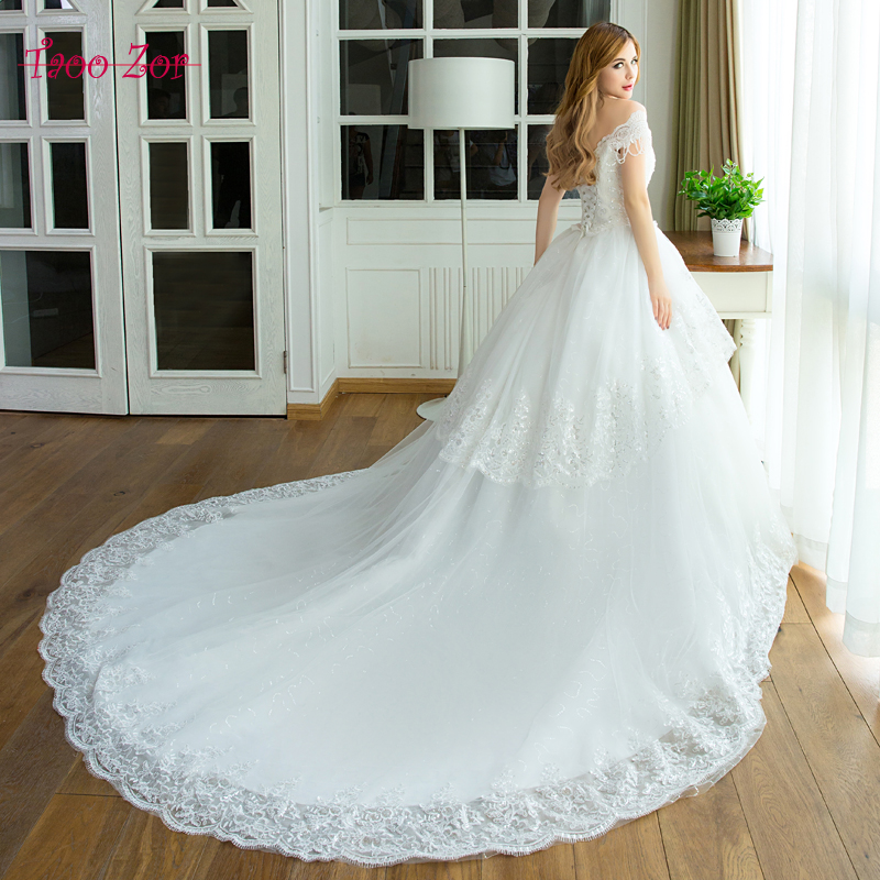 TaooZor Real Photos Tassel Beaded Straps Ball Gown Wedding