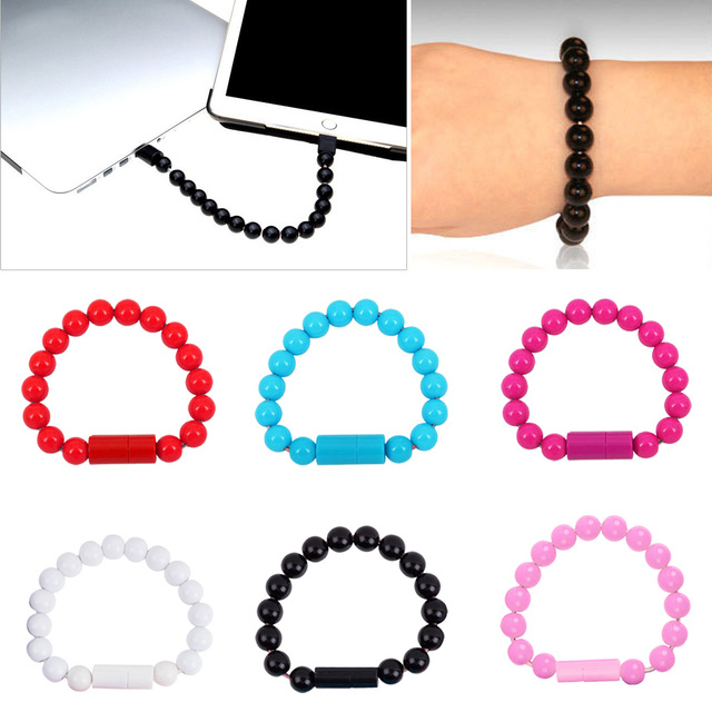 Mini Wearable Usb Charging Bracelet Beads Charging Cable Portable