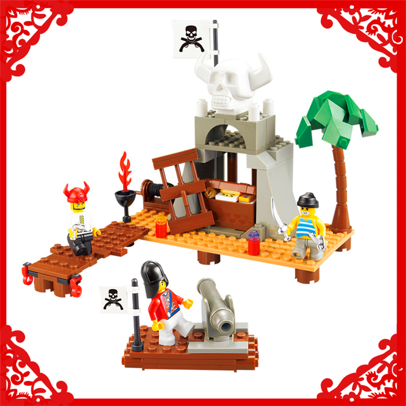 SLUBAN 0278 142Pcs Pirate Skeleton Treasure Model Building Block Construction Figure Toys Gift For Children Compatible Legoe lepin 22001 pirate ship imperial warships model building block briks toys gift 1717pcs compatible legoed 10210