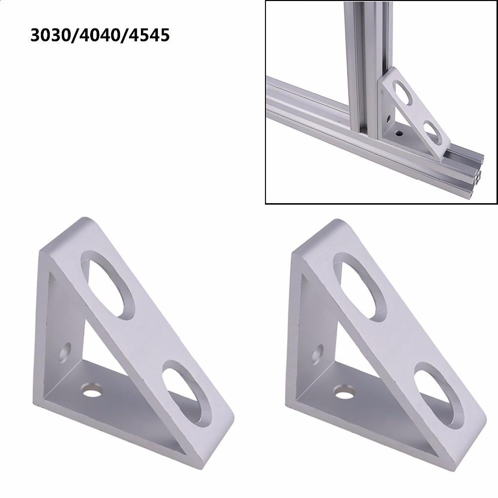 2pcs Aluminum Alloy 4 Hole Inside Extrude Corner Gusset Bracket for Aluminum Extrusion with Profile 3030/4040/4545 Series 2 hole transition inside corner bracket for 3030 aluminum profile